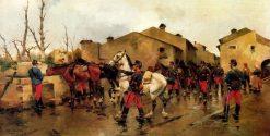 An Artillery Regiment Watering Horses | Josep Cusachs | Oil Painting