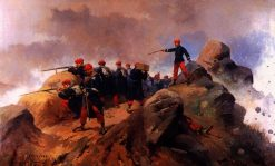 Fight in the trenches during the First Carlista War   Josep Cusachs   Oil Painting