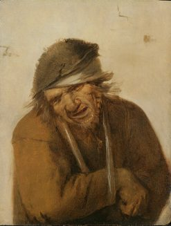A peasant grimacing with his arm in a sling | Joos van Craesbeeck | Oil Painting