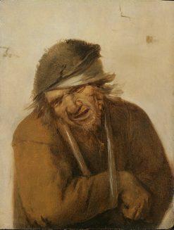 A peasant grimacing with his arm in a sling | Joos van Craesbeeck | Oil Painting