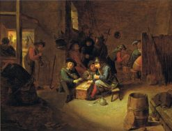 A guardroom interior with soldiers playing cards | Joos van Craesbeeck | Oil Painting