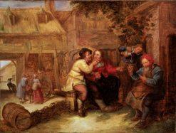 Peasants drinking outside a tavern | Joos van Craesbeeck | Oil Painting