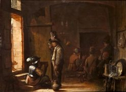 Tavern interior with a soldier sitting and drinking beside a boor | Joos van Craesbeeck | Oil Painting