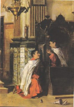 Altar Boys at the Confessional | Vicente Castell y Domenech | Oil Painting