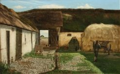 Fowls and farmer with wagon in the courtyard | Carl Vilhelm Meyer | Oil Painting