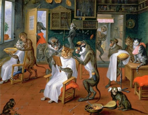 Barbers Shop with Monkeys and Cats | Abraham Teniers | Oil Painting