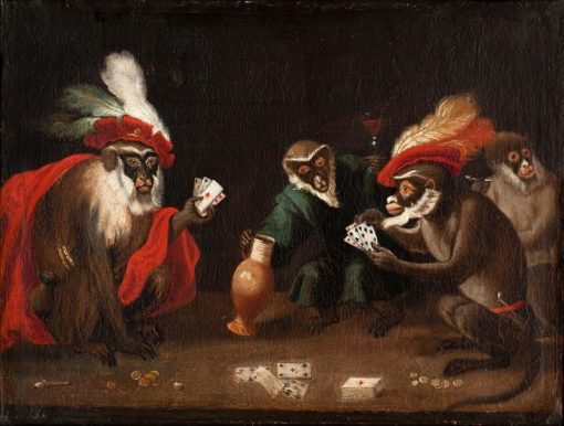 Apes Playing Cards | Abraham Teniers | Oil Painting