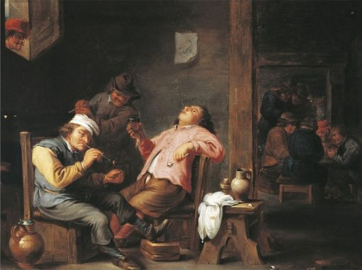 Company drinking and smoking in a pub | Abraham Teniers | Oil Painting