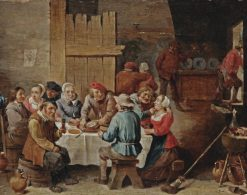 Peasants eating and drinking in an interior | Abraham Teniers | Oil Painting