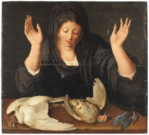 A young woman mourning a dead dove