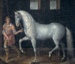 A Spanish Warhorse Captured by Lodewijk Gunther van Nassau from Archduke Albert of Austria in the Battle of Nieuwpoort and Presented to Prince Maurits | Jacob de Gheyn II | Oil Painting