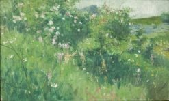 Briar-Rose Bushes Flowering on the Isle of Tjörn | Karl Nordström | Oil Painting
