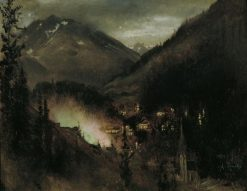 Wildbad Gastein in the Evening | Anton Romako | Oil Painting