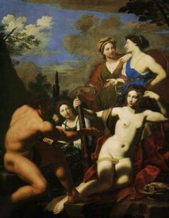 Hercules and Omphalos   Michele Desubleo   Oil Painting