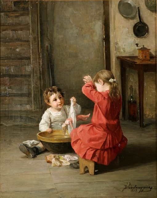 Giving a Bath | Charles-Bertrand dEntraygues | Oil Painting