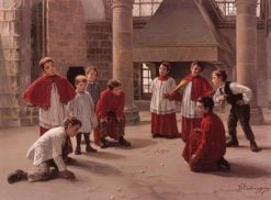 Game of Balls   Charles-Bertrand dEntraygues   Oil Painting