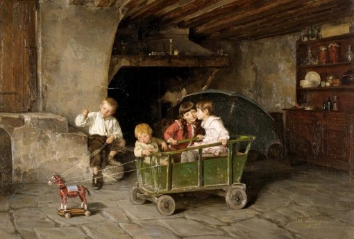 Children Playing | Charles-Bertrand dEntraygues | Oil Painting