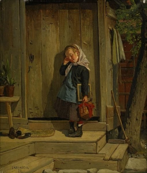 Late for School | Julius Johann Ferdinand Kronberg | Oil Painting