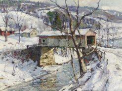 Covered Bridge in Winter | George Gardner Symons | Oil Painting