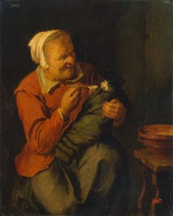 Peasant Woman with a Cat | David Ryckaert III | Oil Painting