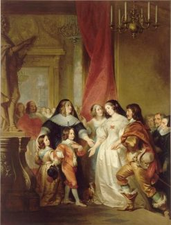 Duke of Orleans Presents His Sister Queen Henrietta Maria of England to Anne of Austria | Henri Decaisne | Oil Painting