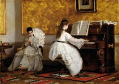 The Piano Lessen   Vito DAncona   Oil Painting