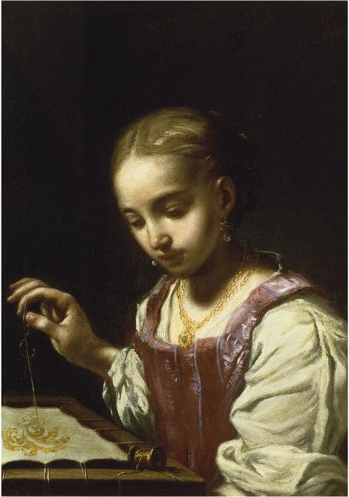 Girl Sewing | Antonio Mercurio Amorosi | Oil Painting