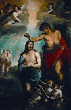 The Baptism of Christ   Luciano Borzone   Oil Painting