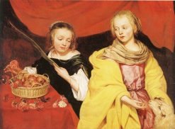 Two Girls as Saint Agnes and Saint Dorothy | Thomas Willeboirts Bosschaert | Oil Painting