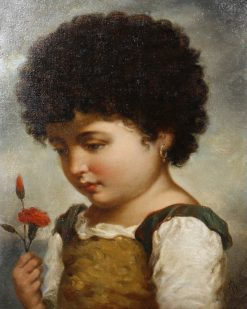 Girl Holding a Red Carnation | Adriano Bonifazi | Oil Painting