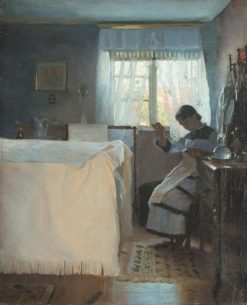 Woman Sewing by the Window | Peter Ilsted | Oil Painting