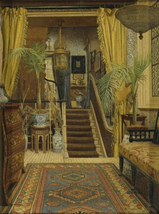 The Hallway with Potted Palms   Jessica Hayllar   Oil Painting