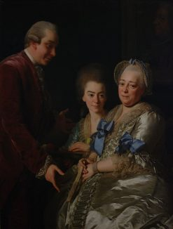 Widow Anna Johanna Grill with Her Son and Daughter | Alexander Roslin | Oil Painting