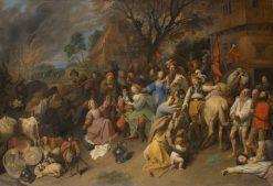 Plundering Soldiers   David Ryckaert III   Oil Painting