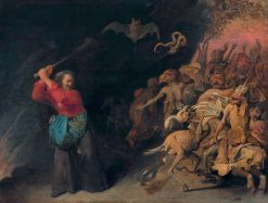 Old Woman Attacking Devils | David Ryckaert III | Oil Painting