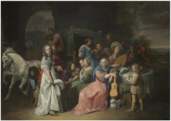 An outdoor scene with an elegant company attending and playing music   David Ryckaert III   Oil Painting