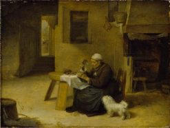 Peasant woman in a kitchen | David Ryckaert III | Oil Painting