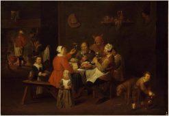 The King Drinks   David Ryckaert III   Oil Painting