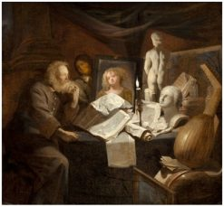 Old Man with a Vanitas Still Life   David Ryckaert III   Oil Painting