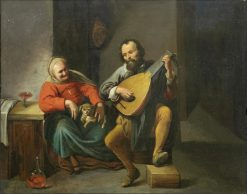 A lute player in an interior   David Ryckaert III   Oil Painting