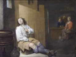 A tavern interior with a young man asleep