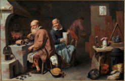 The Alchemist and His Wife in the Workshop | David Ryckaert III | Oil Painting