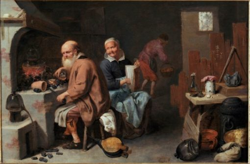 The Alchemist and His Wife in the Workshop   David Ryckaert III   Oil Painting