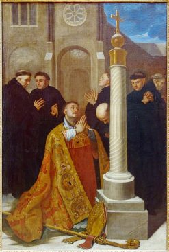 Saint Lambert in Prayer at the Foot of the Cross of the Abbey of Stavelot | Bertholet Flemalle | Oil Painting