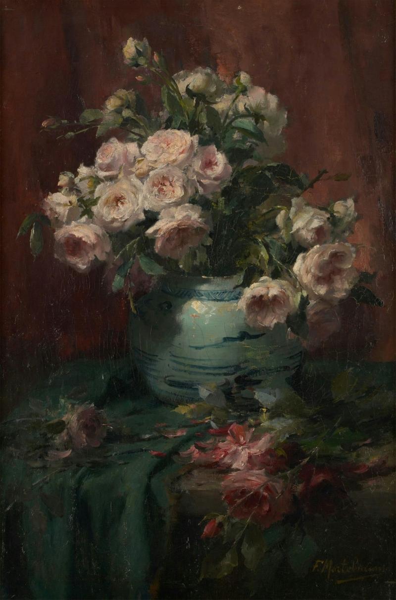 Vase of Flowers   Frans Mortelmans   Oil Painting & Vase of Flowers Painting   Frans Mortelmans Oil Paintings