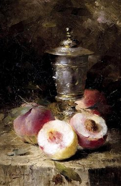 Cup and peaches on the table   Frans Mortelmans   Oil Painting