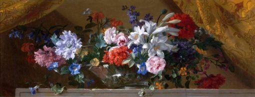Flowers in a glass vase on a marble ledge   Jean-Baptiste Monnoyer   Oil Painting