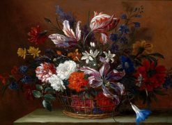 Still Life with a Basket of Flowers | Jean-Baptiste Monnoyer | Oil Painting