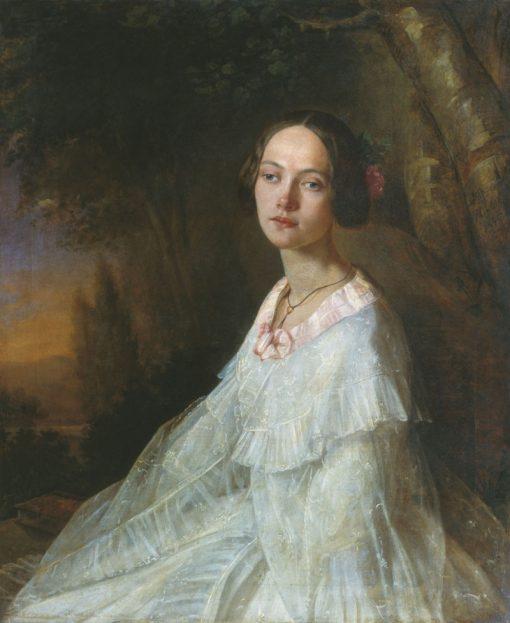Portrait of Yu. Zhadovskaya   Nikolai Lavrov   Oil Painting