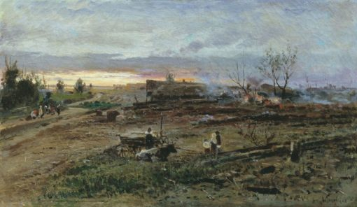 Fire in the Village | Alexandra Makovskaya | Oil Painting